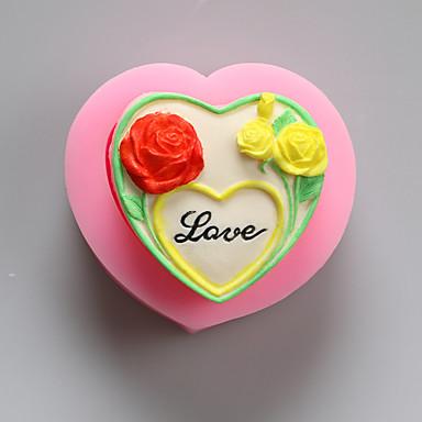 flores amo moldes de chocolate de silicone, moldes de bolo, moldes de sabão, ferramentas de decoração bakeware