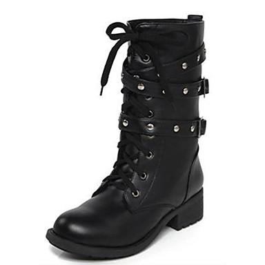 בגדי ריקוד נשים נעליים PU חורף מגפיי קרב מגפיים עקב נמוך 20.32-25.4 cm / מגפיים באורך אמצע - חצי שוק ניטים שחור