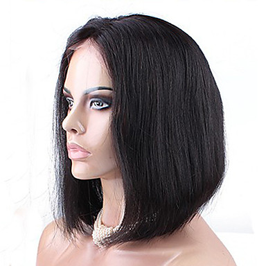 Kvinder Blondeparykker med menneskehår Ekte hår Helblonde Blonde Forside Helblonder uten lim 120% tetthet Rett Parykk Kort Medium Lang