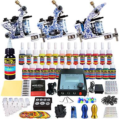 kits de tatouage pour débutants 3 machine x tatouage en alliage pour la doublure et l'ombrage LCD alimentation 5 x Aiguilles de tatouage