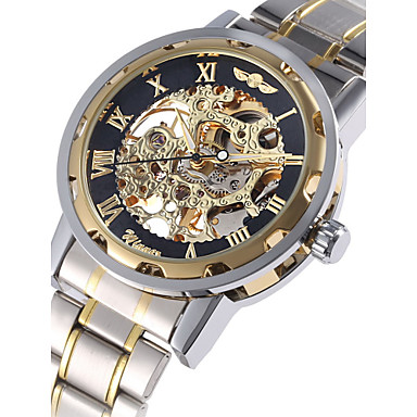 رخيصةأون ساعات ميكانيكية-WINNER رجالي ساعة الهيكل ساعة المعصم ووتش الميكانيكية داخل الساعة أتوماتيك ستانلس ستيل فضة نقش جوفاء مماثل ترف - ذهبي