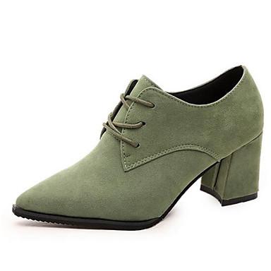 Damen Schuhe Wildleder Winter Frühling Herbst Komfort Blockabsatz Schnürsenkel für Normal Büro & Karriere Schwarz Grau Grün