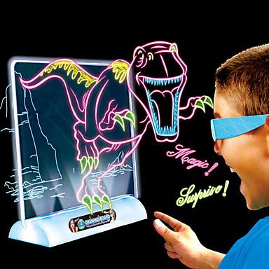 Brinquedo para Desenhar Lousas Mágicas Brinquedos Iluminação Iluminação de LED LED 3D Magia Dinossauro Plástico ABS Aniversário Peças