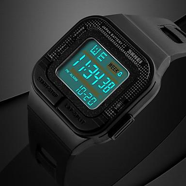 Homme Montre numérique Montre de Sport Numérique Alarme Calendrier Chronographe Etanche Chronomètre LCD Lumineux Caoutchouc Bande Noir