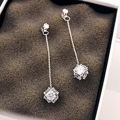 Feminino Brincos Compridos Moda Prata de Lei Zircão Zircônia Cubica Forma Geométrica Jóias Para Festa Diário