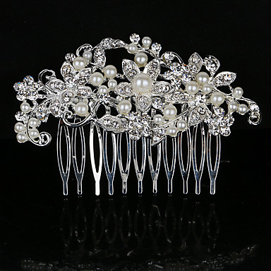 Perle Kristall Strass Legierung Haare Kämme Kopfstück eleganten Stil
