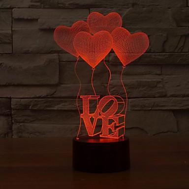 romantiske 3d Hjerteed-formet visualisering førte natt lys, optisk illusjon art farge skiftende nattlys