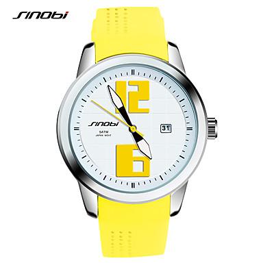 SINOBI Damen Modeuhr Armbanduhren für den Alltag Quartz Wasserdicht Schockresistent Silikon Band Retro Gelb