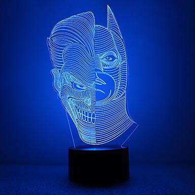 fantastisk 3d lllusion ledet bordlampe nattlys med dobbeltansiktsform med Batman form med maskefiguren