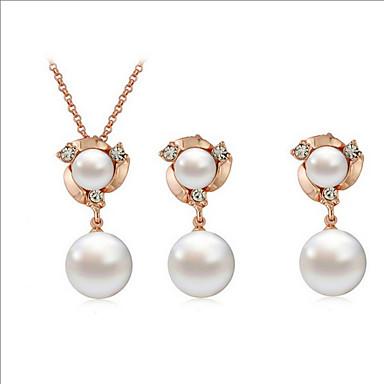 נשים סט תכשיטים שרשרת / עגילים יום יומי אופנתי יומי קזו'אל פנינה סגסוגת עגילים שרשראות