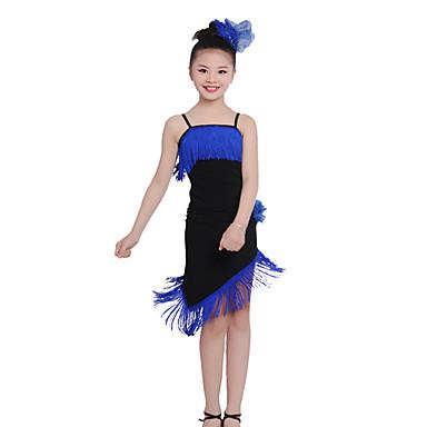 ריקוד לטיני תלבושות בגדי ריקוד ילדים הצגה כותנה פרנזים אסוף שרוול ארוך טבעי עליון חצאית