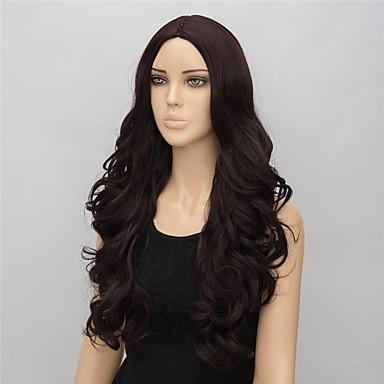 פאות סינתטיות גלי שיער סינטטי חום פאה בגדי ריקוד נשים בינוני פאה שחורה