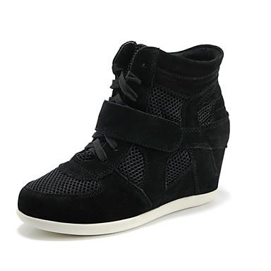 Sko-Lær / Tyll-Kilehæl-Kiler / Komfort / Rund tå-Trendy sneakers-Friluft / Fritid / Sport-Svart / Grå