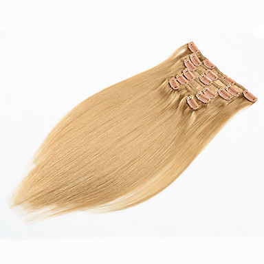 voordelige Extensions van echt haar-PANSY Klem In / Op Extensions van echt haar Recht Klassiek Echt haar Extentions van mensenhaar Braziliaans haar Dames aardbei blond  / licht blondje