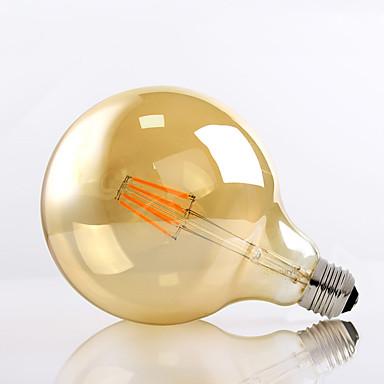 HRY 1pç 8W 650 lm E26/E27 Lâmpadas de Filamento de LED G125 8 leds LED de Alta Potência Decorativa Branco Quente AC 220-240V