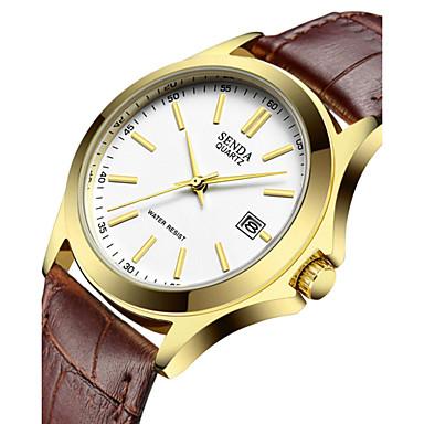 Homens Relógio de Moda Quartzo Relógio Casual Couro Banda Brilhante Pendente Legal Preta
