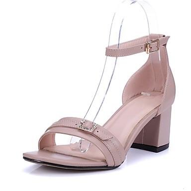 Feminino Sapatos Couro de Gado Primavera Verão Tira no Tornozelo Salto Agulha Presilha Para Casual Social Festas & Noite Preto Bege Rosa