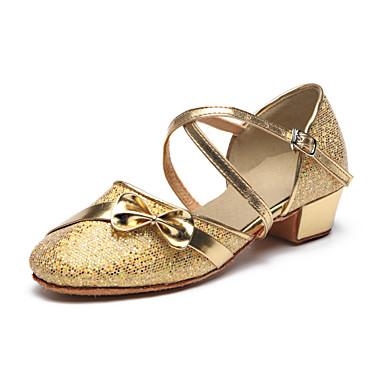 Damen Schuhe für den lateinamerikanischen Tanz Glitzer / Paillette Absätze Schleife / Paillette / Glitter Flacher Absatz Maßfertigung Tanzschuhe Silber / Golden / Innen / Praxis