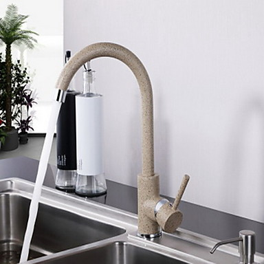 Contemporary Tall/High Arc Deck Mounted Ceramic Valve One Hole Single Handle One Hole Painting , Kitchen faucet