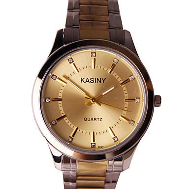 Homens Relógio de Moda Quartzo Relógio Casual Aço Inoxidável Banda Pendente Prata Dourada
