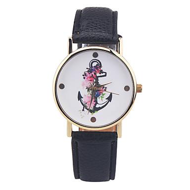 Damen Modeuhr Quartz Armbanduhren für den Alltag Leder Band Charme Schwarz Beige