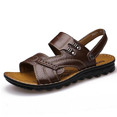 Homme Chaussures Cuir Eté Sandales Marche Talon Plat Cloutée pour Décontracté De plein air Jaune Marron