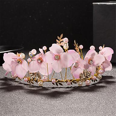 女性用 女の子 真珠 ファブリック 合金 かぶと-結婚式 パーティー ティアラ 1個
