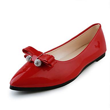 Mulheres Sapatos Couro Envernizado Primavera Verão Outono Conforto Sem Salto Cristais Laço para Escritório e Carreira Festas & Noite