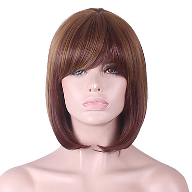 女性 人工毛ウィッグ キャップレス ストレート ボブスタイル・ヘアカット バング付き 衣装ウィッグ コスチュームウィッグ