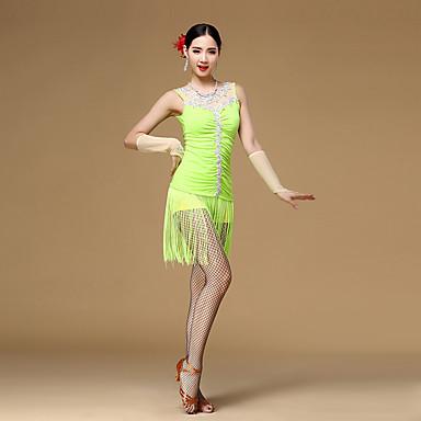 Latein-Tanz Kleider Damen Leistung Viskose Kristalle/ Strass Quaste Rüschen Ärmellos Normal Kleid Handschuhe