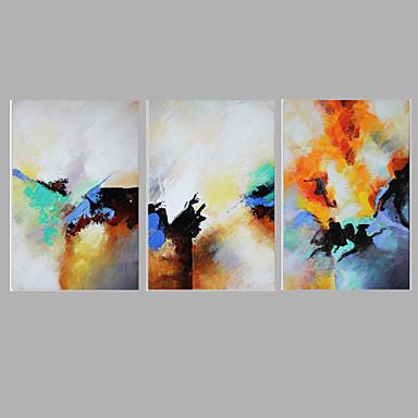 Peint à la main Abstrait Peintures à l'huile,Style européen Trois Panneaux Toile Peinture à l'huile Hang-peint For Décoration d'intérieur