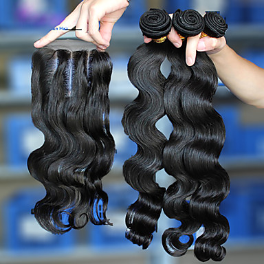 6A Malaysian Virgin Hair With Closure,Lace Closure With 3Pcs Hair Weft Malaysian Body Wave With Closure 10