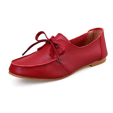 Sko-Lær-Flat hæl-Komfort-Oxfords-Fritid-Svart / Gul / Rød