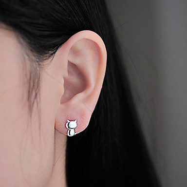 Damen Niedlich Büro nette Art Modisch bezaubernd Simple Style Sterling Silber Katze Tier Schmuck Alltag Normal