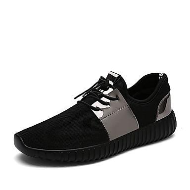 Herren Flache Schuhe Tüll Sommer Normal Walking Schnürsenkel Flacher Absatz Schwarz Silber