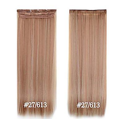 קליפ סינטטי 24inch תוספות שיער 5 קליפים # 27/613 סיבים עמידים בחום ישר קליפ שיער בכיתה גבוהה