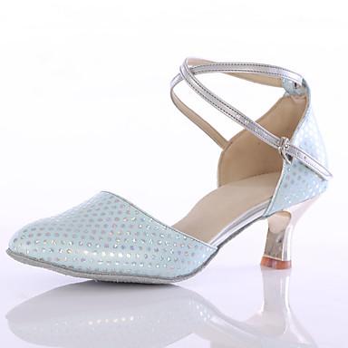 Női Modern cipők Bőrutánzat Magassarkúk Személyre szabott sarok Személyre szabható Dance Shoes Kék / Otthoni