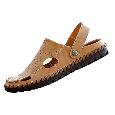 herresko pu uformelle sandaler tilfeldige idretts sandaler flat hæl andre / ruched svart / brun