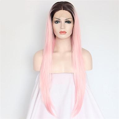 Mulher Perucas sintéticas Frente de Malha Longo Liso Rosa claro Cabelo Ombre Raízes Escuras Riscas Naturais Repartida ao Meio Peruca com