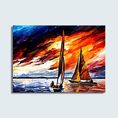 Håndmalte Landskap Klassisk Stil Moderne Tradisjonell Realisme Middelhavet Parfymert Europeisk Stil Lerret Hang malte oljemaleri Hjem