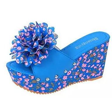 Damen-Sandalen-Lässig-PU-Keilabsatz-Vorne offener Schuh-Blau / Beige
