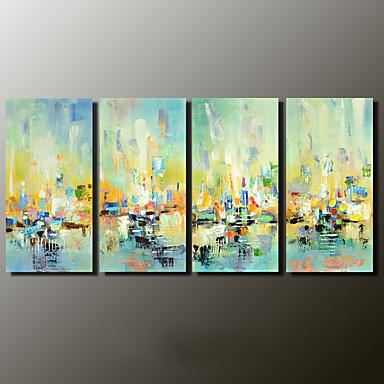 Håndmalte Abstrakte Landskap Moderne,Fire Paneler Lerret Hang malte oljemaleri