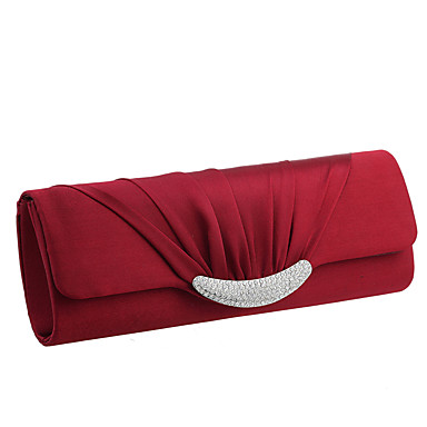 Women's Bags Satin Evening Bag / Tri-fold Crystal / Rhinestone Solid Colored Blue / Wine / Almond