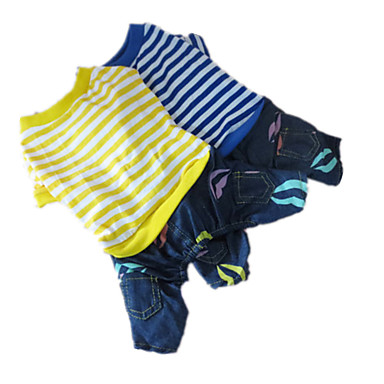 犬 ジャンプスーツ 犬用ウェア 縞柄 イエロー ブルー コットン コスチューム ペット用 男性用 女性用