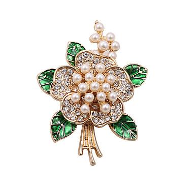 Mulheres Adorável Luxo Pérola / Imitações de Diamante Broches - Luxo / Vintage / Imitação de Pérola Branco / Verde Broche Para Casamento