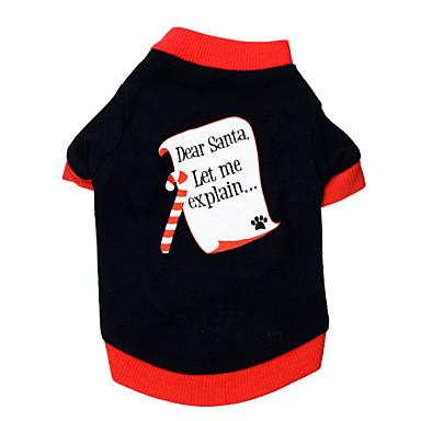 Gato Perro Camiseta Ropa para Perro Letra y Número Negro/Rojo Algodón Disfraz Para mascotas Hombre Mujer Navidad