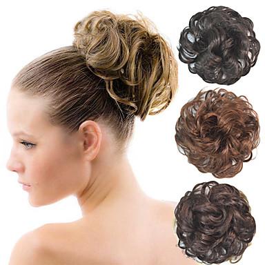 encaracolado bridal updo chignon bolo fofo sintéticos extensões de cabelo peças para as mulheres negras mais cores