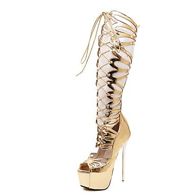 Damen-High Heels-Lässig-PU-StöckelabsatzGold
