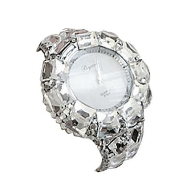 Mulheres Relógio de Moda Simulado Diamante Relógio Quartzo Relógio Casual Lega Banda Bracelete Preta Prata