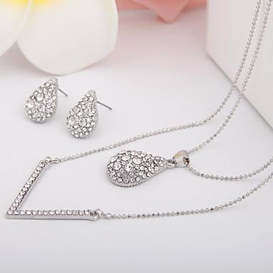 Damen Schmuck-Set - Diamantimitate Luxus, Simple Style, Geburtssteine Einschließen Halskette / Ohrringe Silber Für Hochzeit / Party /